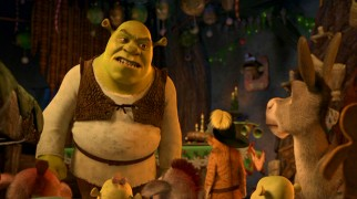 Shrek has had enough of his boisterous Christmas Eve guests.