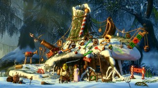 Shrek's swamp bungalow gets made over for Christmas.
