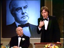 "John Houseman returns for more scowling as Grandfather Stratton, this time tuxedoed, in ""Honor Thy Father."""