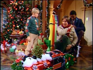 "The Strattons' fondly-remembered miniature train gets a festive overhaul for the first ""Silver Spoons"" Christmas episode."