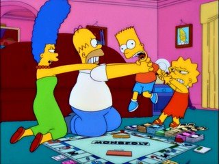 A family Monopoly game brings out the worst in the Simpsons.