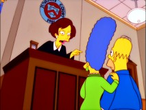 "Newly-introduced no-nonsense Judge Constance Harm throws the book at Homer and Marge in ""The Parent Rap."""