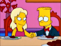 "Greta Wolfcastle, privileged daughter of ""McBain"" himself, takes a liking to Bart."