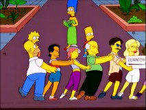 The Simpsons find their way around Rio de Janeiro the Brazilian way, by joining a conga line.