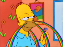 Under the influence of medical marijuana, Homer sees rainbows shooting out from his face during his morning shave.