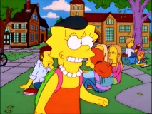 "Lisa hopes a black beret will help her blend in on the Springfield University campus in ""Little Girl in the Big Ten."""