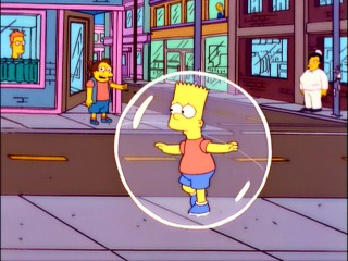 Legendary Springfield bully Nelson Muntz displays perfect timing as he is the first to ridicule Bart for being confined to a plastic bubble.