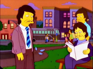 Looking for Branson, Homer and family mistakenly wind up in Bronson, a town whose citizens all look and sound like actor Charles Bronson.
