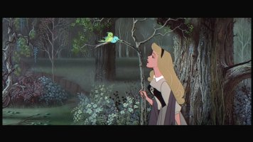 Briar Rose (Princess Aurora in hiding) serenades the forest.