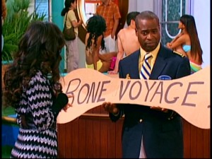 "Hotel manager turned ship manager Marion Moseby (Phill Lewis) pretends that a ""Bone Voyage"" sign is less funny than anything else on the S.S. Tipton."