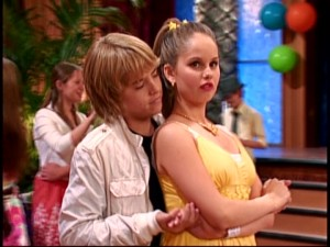 "Cody (Cole Sprouse) hypothesizes that a fulfilling slow dance with Bailey (Debby Ryan) may be the key to freeing him from his ""Groundhog Day""-type ""International Dateline"" dilemma."
