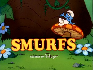 An unspecified Smurf sits casually atop a mushroom while his friends' eyes are seen in the shadows of the SMURFS title logo screen. Created by Peyo.