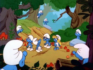The Smurfs call the forest their home. How many Smurfs can you find in this picture? Now, how many can identify by name? (Answers: 10, 2)