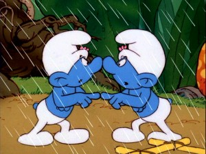 Vanity Smurf is used to looking at himself, but there's usually a mirror involved.