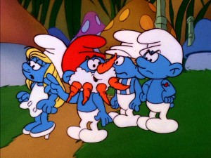 No one's got the heart to tell Papa Smurf that the carrot nose and beard isn't the most becoming look for him.