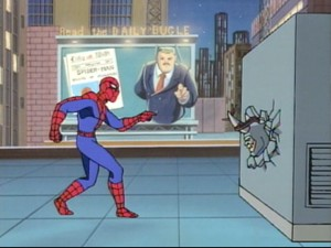 Spidey does his best J.J. Jameson impression for a captivated Rhino.