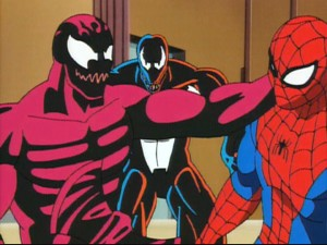 More symbiont scum for Spider-Man: Carnage threatens our hero as 'daddy' Venom watches on.