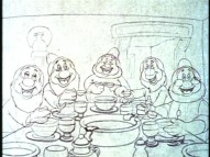 "The Dwarfs are excited to learn the way proper gentlemen eat soup in the deleted ""Music in Your Soup"" sequence."