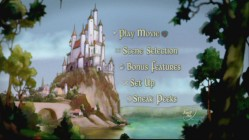 The Queen's palace and the kingdom beneath it experience different lighting conditions as the main menu of the DVD copy progresses.