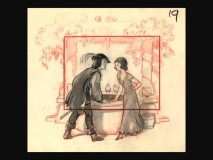 Among the storyboard gallery images is this concept of Snow White and the Prince's first encounter.