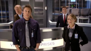 "Portraying Vision Enterprises' top crew members, Bill Fagerbakke, Lochlyn Munro, Pat Finn, and Ali Hillis have the misfortune of being seen in ""Space Buddies."""