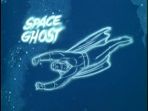 "The title screen for ""Space Ghost"", whose stories make up two-thirds of ""Space Ghost & Dino Boy."""