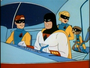 As they often do, Space Ghost, Jan, Jace, and Blip share a little laugh in the Phantom Cruiser.