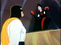 Black Widow, later known as The Spider Woman, torments Space Ghost while wielding his power bands.