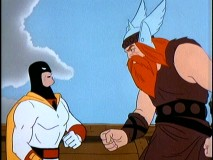 "The 12th century Viking Tarko the Terrible squares off with Space Ghost in ""The Time Machine."""