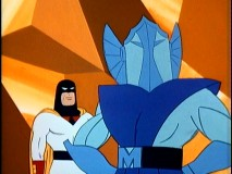 Metallus gives Space Ghost a formal introduction to his formidable army of metal men.
