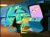 "Zorak and a relative who closely resembles him monitor Space Ghost's actions in ""The Challenge."""