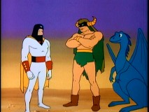"Mightor and pet dinosaur Tog (from fellow late-'60s Hannah-Barbera series ""Moby Dick and Mighty Mightor"", help Space Ghost in the ""Clutches of Creature King"" installment."