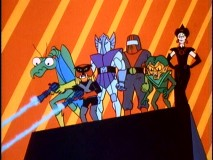 Members of the Council of Doom unite to defeat their common foe (Space Ghost). From left to right, Zorak, Brak, Metallus, Moltar, Creature King, and Spider Woman stand proud.