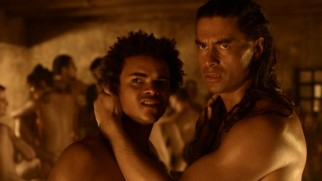 Young Pietros (Eka Darville) and tall Barca (Antonio Te Maioha) are gay lovers, to the tolerance of most of the ludus.