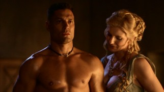 Feeding her newly-discovered carnal desires, Iliythia (Viva Bianca) explores the body of a gladiator (Crixus; Manu Bennett), paying special attention to the nether regions.