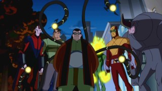 "Left to right: Vulture, Sandman, Dr. Octopus, Electro, Shocker, and Rhino. Six of the season's many supervillains join together in the memorable episode ""Group Therapy."""