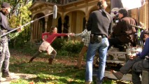 "Sarah Bolger shows off her fencing skills in B-roll from a take in ""Making Spiderwick!"""