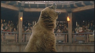 This bear is Squanto's opponent in a spectacle that Sir George arranges.
