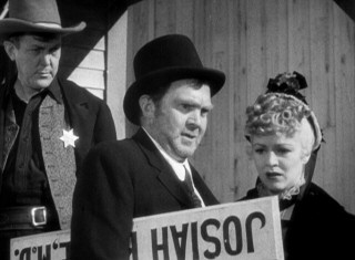 At the film's start, drunk Doc Boone (Oscar-winning supporting actor Thomas Mitchell) and prostitute Dallas (Claire Trevor) are run out of town and onto the titular stagecoach by disapproving townswomen and this sheriff.