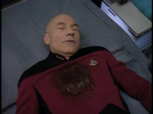 Captain Jean-Luc Picard (Patrick Stewart) falls flat on his back more than a couple of times in The Best of Star Trek: The Next Generation - Volume 2.