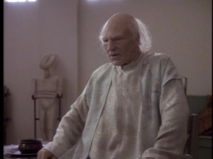 "Captain Picard (Patrick Stewart) transforms into an even older man in ""The Inner Light""."