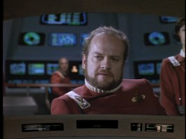 "Kelsey Grammer hears the blues a'callin' all the way in space as Captain Bateson, head of a spaceship trapped in time in ""Cause and Effect."""