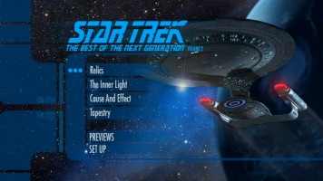 The Best of Star Trek: The Next Generation - Volume 2 main menu screen is dead still and completely silent, but at least it looks cool.
