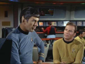 Spock (Leonard Nimoy) and Kirk (William Shatner) speculate about Khan's mysterious past and the world he came from.