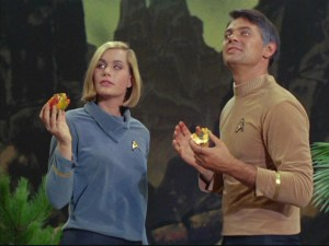 "Enjoying their godlike powers, Dehner (Sally Kellerman) and Mitchell (Gary Lockwood) plan on ruling their own planet as a new Adam and Eve in ""Where No Man Has Gone Before."""