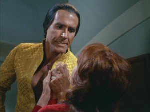 "Marla quickly and unexpectedly experiences a small sampling of Khan's (Ricardo Montalban) legendary wrath in ""Space Seed."""