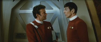"Admiral James T. Kirk (William Shatner) and Captain Spock (Leonard Nimoy) engage in their usual catty discourses in the esteemed sequel ""Star Trek: The Wrath of Khan."""
