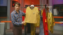"Star Trek collector James Cawley shows off costumes designed for the scrapped 1970s ""Star Trek: Phase II"" television series in ""Collecting Star Trek's Movie Relics."""