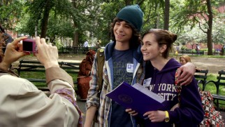 Moose (Adam G. Sevani) and Camille (Alyson Stoner) pose for a photo on their first day of college.