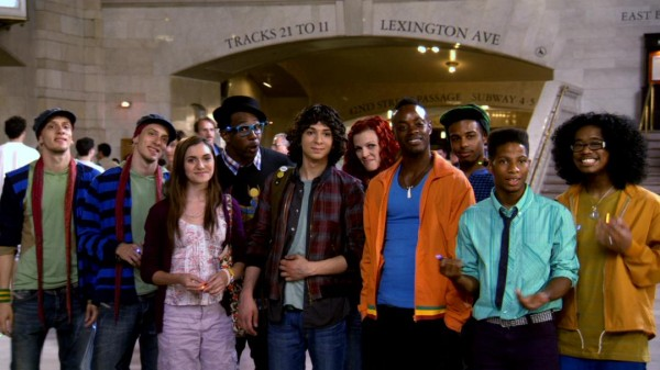 At Grand Central Terminal, The Pirate Dance Group shows their support for Luke and Natalie: the Santiago Twins (Martin and Facundo Lombard), Camille (Alyson Stoner), Jason (Stephen Boss), Moose (Adam G. Sevani), Anala (Kendra Andrews), Jacob (Keith Stallworth), Spinz (Ivan Velez), and the Ticks (Terrence Dickson and Straphonio Solomon).